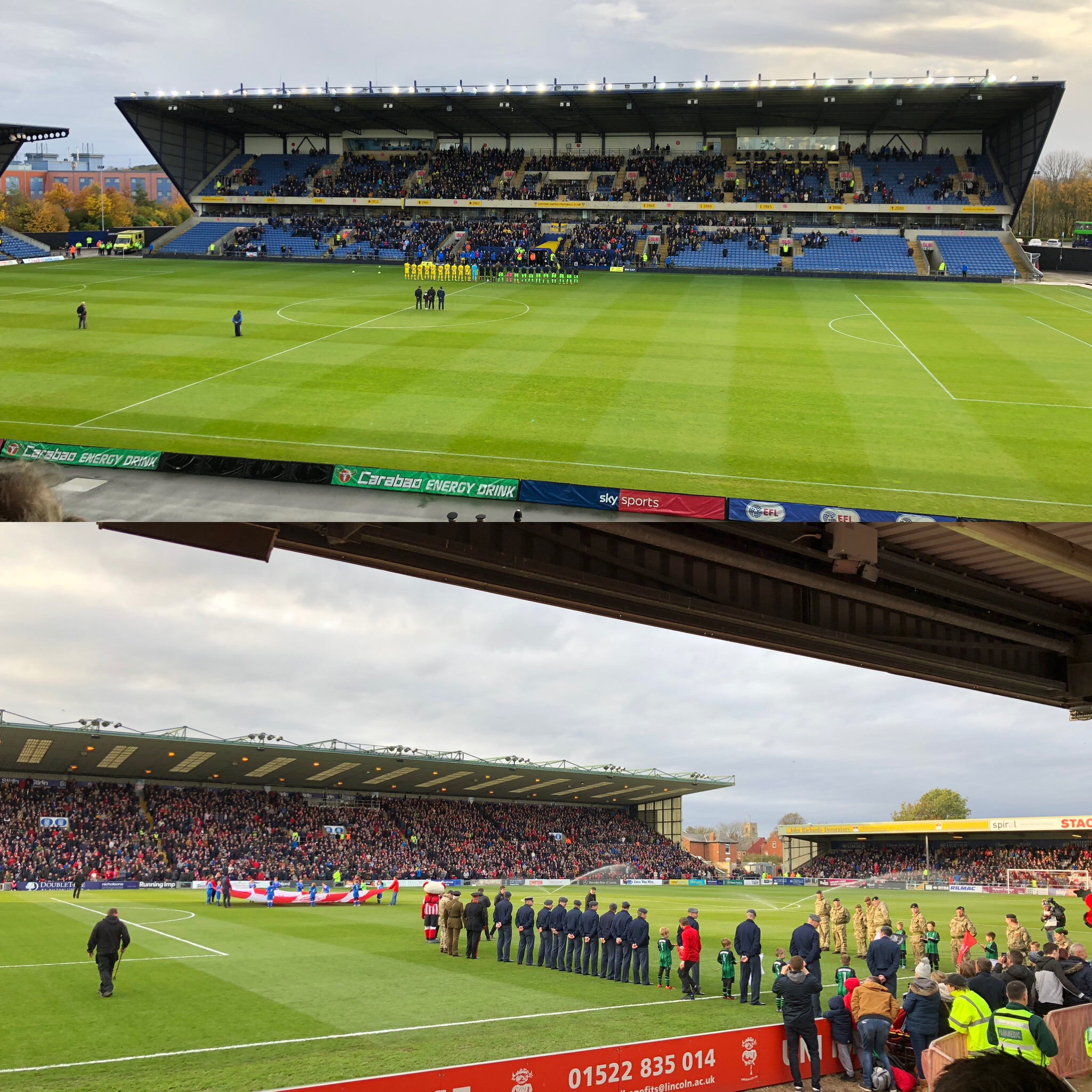Remembrance Ceremonies At Oxford (Top) And Lincoln Football Grounds Prior to Matches With Forest Green Rovers