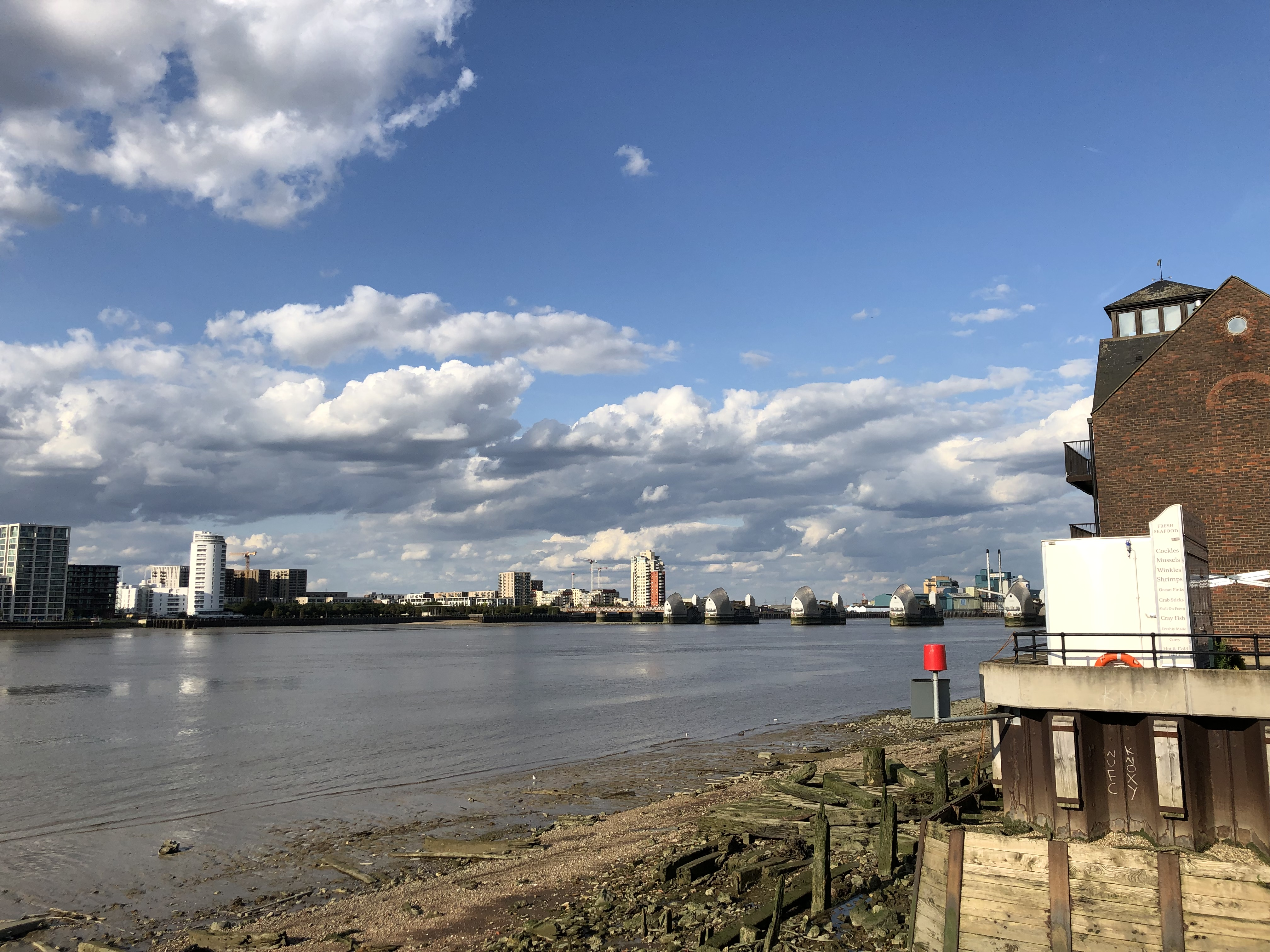 View Of The Thames Barrier From The Anchor and Hope Pub Before The Big Game