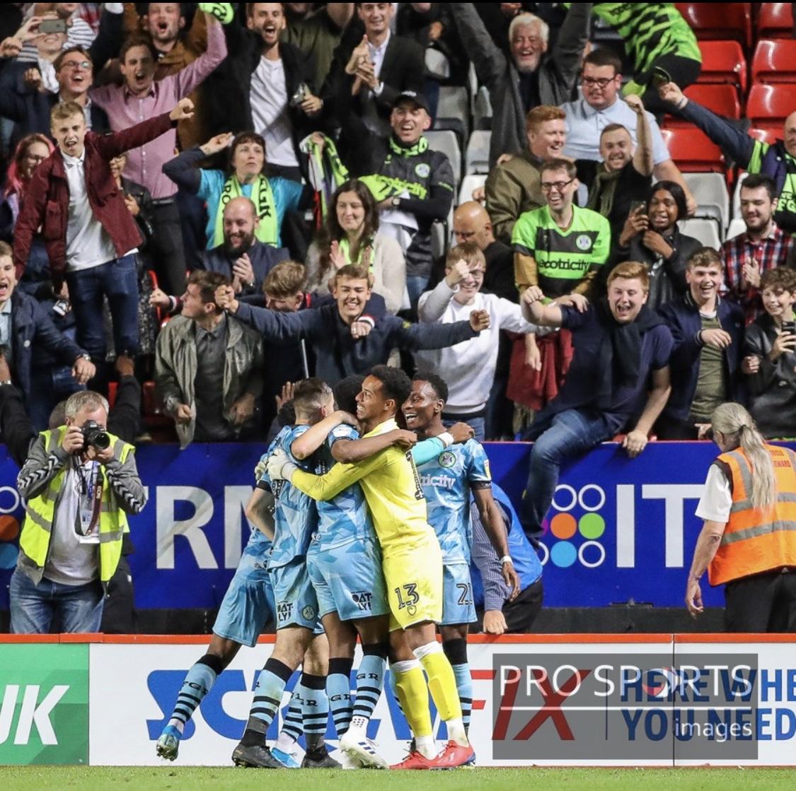 Celebrating The Winning Goal At Charlton