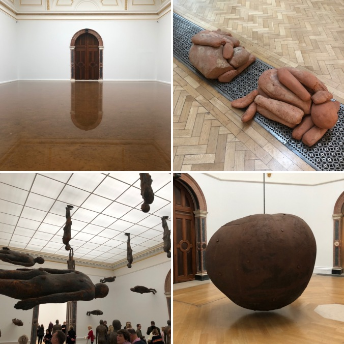 Host (2019), Piles (2018), Lost Horizon (2008) and Fruit (1993) By Antony Gormley At The Royal Academy