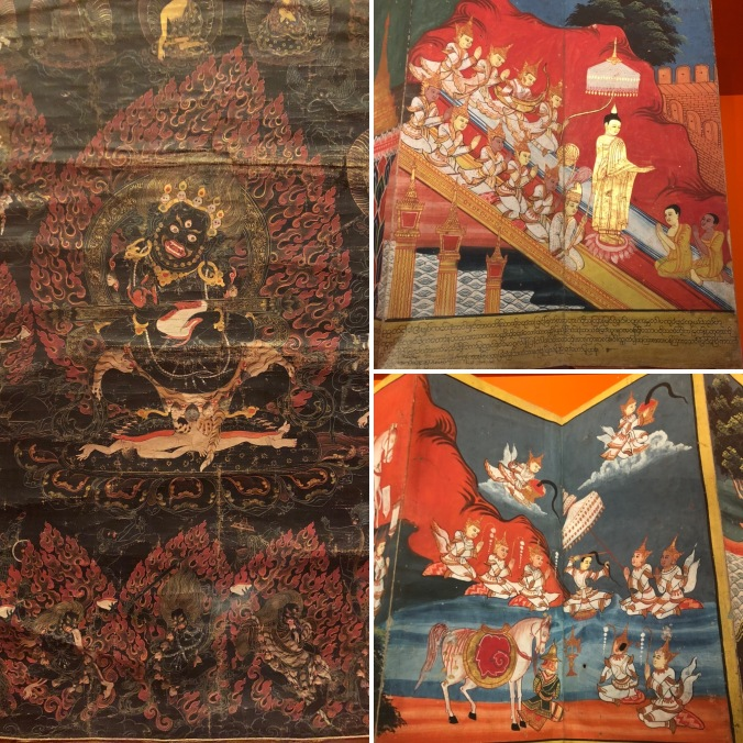 A Scroll Depicting Mahakala (A Protector Deity) And Tales From The Historical Buddha's Life In Folding Books