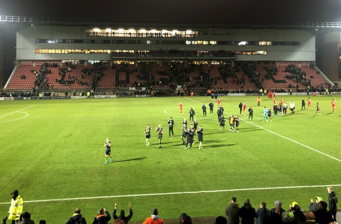 Forest Green Players Celebrating Their Win At Leyton Orient