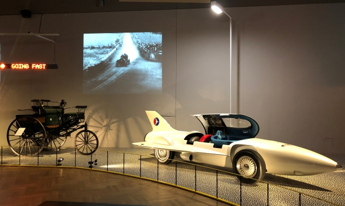 The First Automobile (Benz Patent Motorwagen) And The Firebird Concept Car Capable Of Going 20 Times Faster in 1953