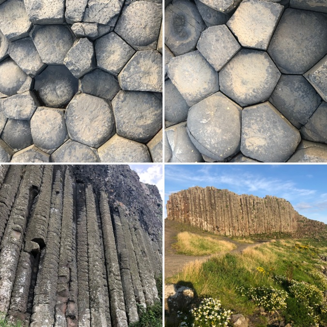 Some of the 40,000 Hexagonal Basalt Column Tops Forming the Causeway And (Bottom Left) Other Huge Columns Forming Cliffs